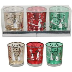 Christmas Votive Candle Holders Set of 3: Reindeer