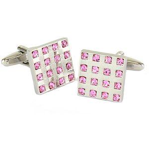 Square Rhod/Rose Stones Cufflinks