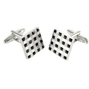 Square Rhod/Black Stones Cufflinks
