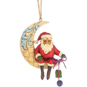 Heartwood Creek Hanging Ornament Santa on Crescent Moon
