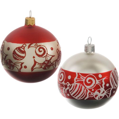 Christmas Tree Baubles - Skandi Sweet Ball Pack of 2 Assorted