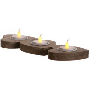 Tea Light Candle Holder - Three Wooden Hearts