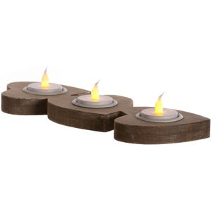 Triple Wooden Heart Tea Light Candle Holder