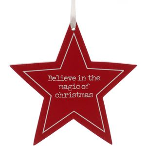 Festive Star Hanging Ornament - Believe in the Magic of Christmas