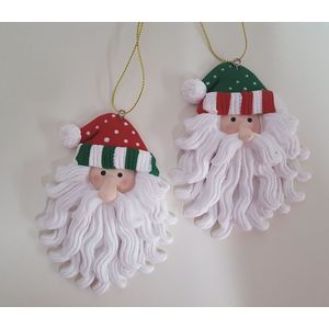 Set of 2 Santa's in Stripy hats Hanging Ornaments