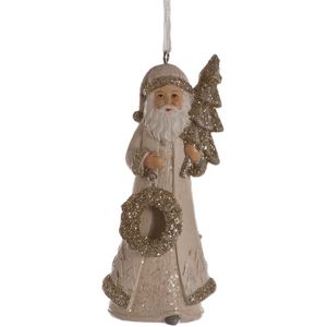 Gold & Ivory Santa Claus Hanging Tree Ornament x2