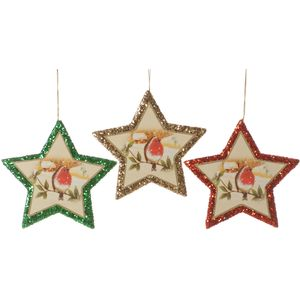 Christmas Tree Hanging Decorations - Robin Glitter Star Pack of 3 Assorted