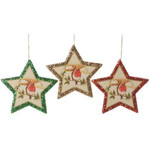 Set of 3 Christmas Robins Star Tree Decorations