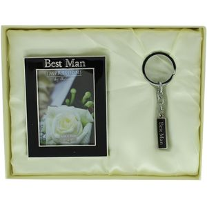 "Juliana Impressions Wedding Gift Set Keyring & Photo Frame 2"" x 3"" - Best Man"