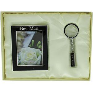 "Juliana Wedding Gift Set Keyring & Photo Frame 2"" x 3"" - Best Man"