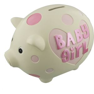 Wendy Jones Blackett Ceramic Pig Money Bank - Baby Girl