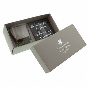 Amore Wedding Party Whisky Glass & Coaster Wedding Gift Set - Usher