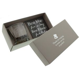Amore Wedding Party Whisky Glass & Coaster Wedding Gift Set - Best Man