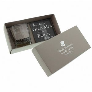 Amore Wedding Party Whisky Glass & Coaster Gift Set - Father of the Groom