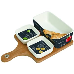 Ardesia Range Party Time Tasting Set 3 Bowls on Bamboo Board