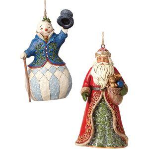 Heartwood Creek Hanging Ornament Set - Snowman & Santa