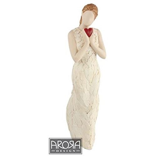 Arora Design More Than Words Lady holding red heart Figurine