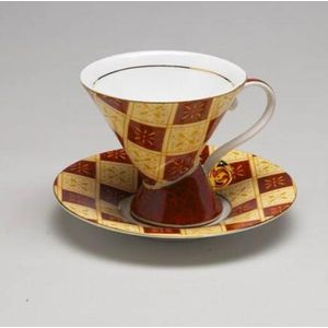 Cup & Saucer Mosaic Set Red Check
