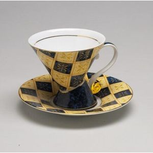 Cup & Saucer Mosaic Set Blue Check