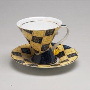 Leonardo Mosaic Cup & Saucer Set - Blue Check