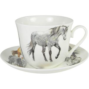 Horses Breakfast Cup & Saucer Gift Set