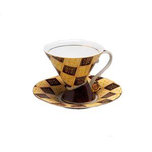 Leonardo Mosaic Cup & Saucer Set - Burgundy Check