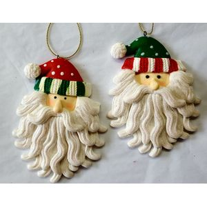 Set of 2 Santa's in Stripy hats Tree Ornaments -glitter