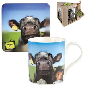 Villager Jim Mug & Coaster Gift Set - Blowing Bubbles (Cow)