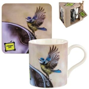 Villager Jim Mug & Coaster Gift Set - Deidre Poolside (Blue Tit)