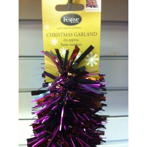 Christmas Garland Tinsel 2M Pack of 5 Purple & Bronze