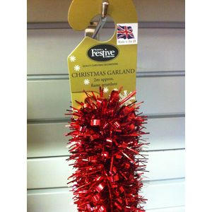 Christmas Garland Tinsel - Red 5x2M