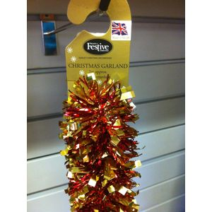 Christmas Garland Tinsel - Red & Gold 10x2m
