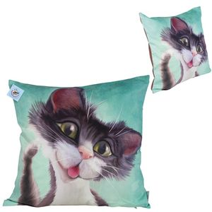 Pets with Personality Black & White Cat Cushion