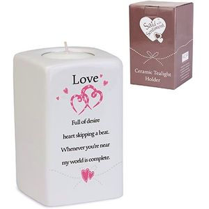 Said with Sentiment Ceramic Tea Light Holder: Love