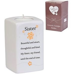 Said with Sentiment Ceramic Tea Light Holder: Sister