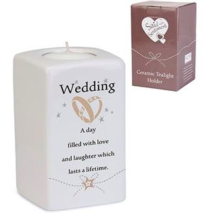 Said with Sentiment Ceramic Tea Light Holder: Wedding