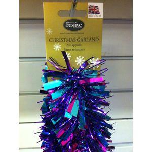 Christmas Garland Tinsel 2M Purple & Blue Coloured x10