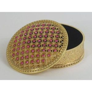 Jewelled Round Pink Trinket Box