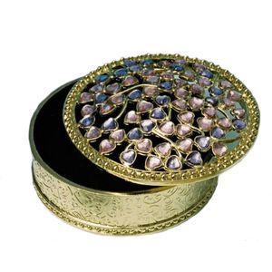 Round Trinket Box with Gemstones