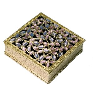 Jewelled Trinket Box Square gold