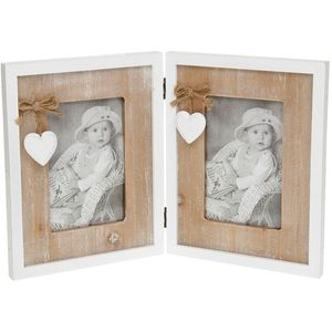 "Provence Heart Shabby Chic Double Photo Frame 4"" x 6"""