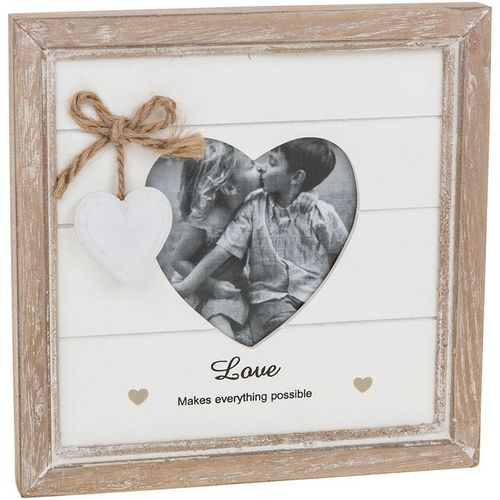 Provence Message Heart Photo Frame - Love Makes Everything Possible