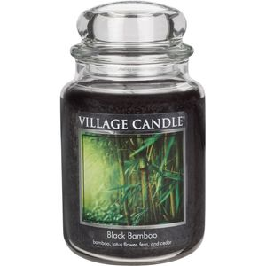 Village Candle Large Jar with Glass Dome Lid - Black Bamboo