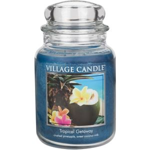 Village Candle Large Jar with Glass Dome Lid - Tropical Getaway