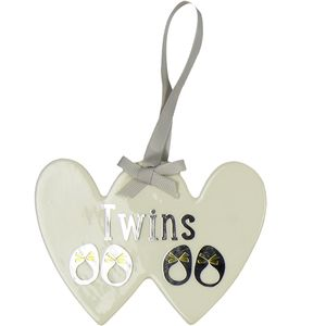 Wendy Jones Blackett Double Heart Plaque -Twins