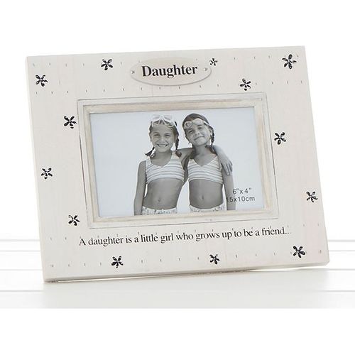 "Flower Print Photo Frame 6"" x 4"" - Daughter"