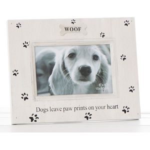 "Paw Prints Photo Frame 6"" x 4"" - Woof (Dog)"
