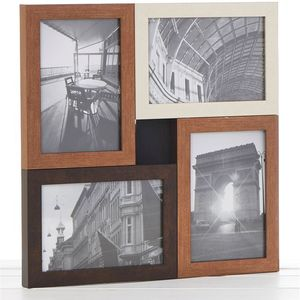 Metallic Wood Multi Collage Photo Frame 4 Pics