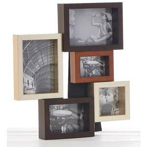 Chunky Metallic Wood Multi Collage Photo Frame 5 Pics