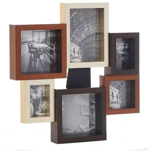 Chunky Metallic Wood Multi Collage Photo Frame 6 Pics